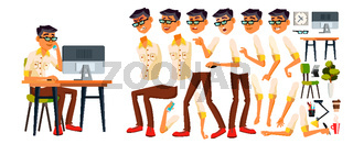 Office Worker Vector. Korean, Thai, Vietnamese. Animation Creation Set. Face Emotions, Various Gestures. Office Generator. Front, Side View. Business Worker. Career. Workman, Clerk. Illustration