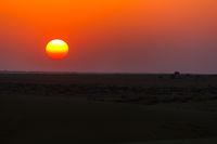 Sunny sunset in Thar desert, India