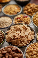 Close up and selective focus. Composition of different kinds cereals