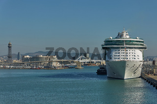 City of Barcelona and cruise ship docking in port of Barcelona in Spain