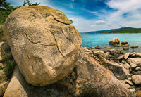 Beautiful  beach. Stones on a foreground.  Vietnam
