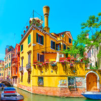 House by canal in Venice in Italy