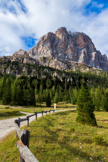 A path or hiking trail in Dolomite Mountains of Northern Italy