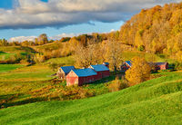 Jenne Farm with barn at sunny autumn morning