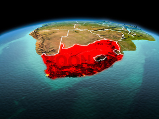 South Africa on planet Earth in space