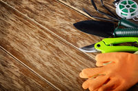 Gardening planting tools of rake shovel wire cutter and gloves