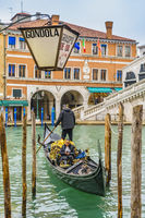 Gondoliers at Venice Grand Canal