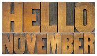 Hello November typography greeting card