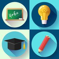 Education icon set on white background. Lightbulb, pencil, graduate hat, slate,