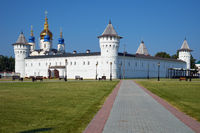 Seating courtyard and Sophia-Assumption Cathedral. Tobolsk Kremlin. Tobolsk. Russia