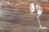 Empty wineglass on the wooden table