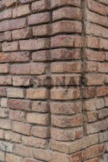 Backsteine in einer Mauer - Mauerziegel als Hintergrund