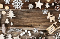 Wooden Background. Frame Of Christmas Decoration Like Tree And Fir Cone