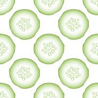 Set of Fresh Green Cucumbers Seamless Pattern