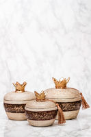 Decorative Ceramic Pomegranates on White Marble