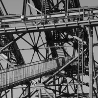 Detail of the mittle station pylon of the Stanserhorn cable car.