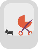 Dog And Stroller Vector Icon
