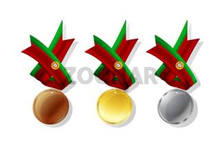 Portuguese vector medals set