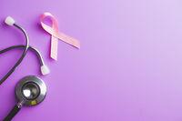 Pink breast cancer ribbon. Breast cancer symbol.