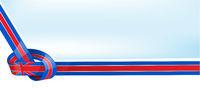 United Kingdom ribbon flag on bue sky background