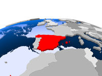 Spain on political globe