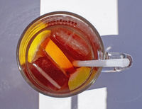 Sangria drink top view orange slices glass