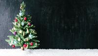 Colourful Tree, Ball Ornamen, Copy Space, Snow