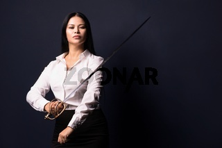 asian businesswoman with sword