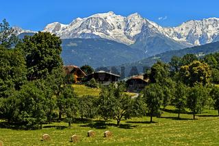 Das schneebedeckte Mont Blanc Massv, Megeve, Hochsavoyen, Frankreich