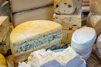 cheese, variety of cheese in shopping display on market -