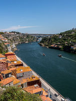 View towards the River Douro from the upper part steel bridge in Porto