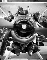 Black and White Prop Plane Seven Cylinder Engine