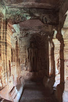 Cave 4 : Carved figure of Indrabhuti Gautama. Badami caves, Badami, Karnataka.