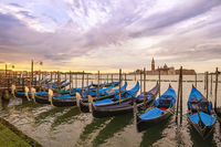 Venice Italy, sunrise city skyline at Grand Canal and Gondola boat