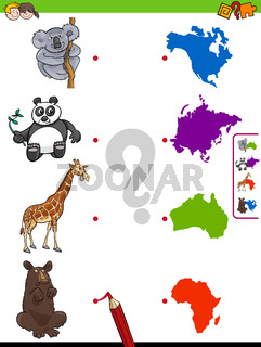 match animals and continents educational task
