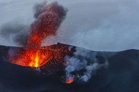 Stromboli Volcano eruption on the small island near Sicily in the Tyrrhenian Sea