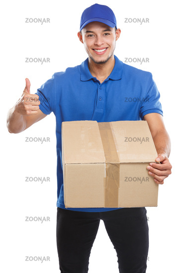 Parcel delivery service box package order delivering job success isolated on white