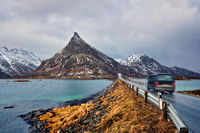 Road in Norway with bridge