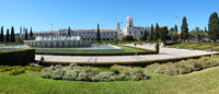 Panorama of Empire Square with the fountain and  Jeronimos Monastery. Lisbon. Portugal