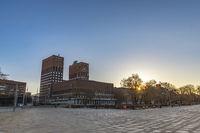 Oslo Norway, sunrise city skyline at Oslo City Hall