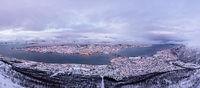 Panoramic aerial view of Tromso in winter