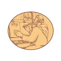 Medieval Monk Writing Illuminated Manuscript Drawing Color