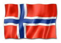 Norwegian flag isolated on white