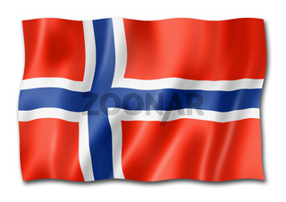 Norwegian flag isolated on white
