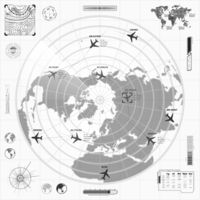 Black and white military radar display with with planes traces and target signs