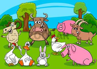 cartoon farm animals comic characters group