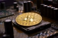 Bitcoin coin and printed circuit board PCB