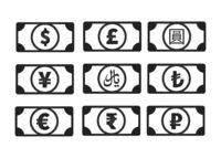 Money banknotes with common currency signs like us dollar, pound, yen, yuan, ruble, euro, rupee, rial, lira isolated on white