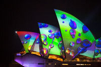 Rain drops image illuminates Sydney Opera House