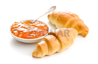 Sweet buttery croissants and fruity jam.
